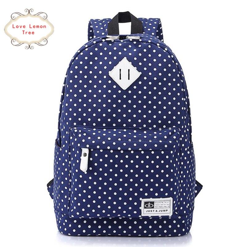 (Ship From United States )Preppy Style Women Backpacks Dot School Shoulder Bag for Teenage Girls Canvas Mochila Travel Rucksack