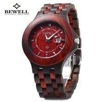 Bewell ZS 080A Wooden Quartz Men Watch Date Luminous Waterproof