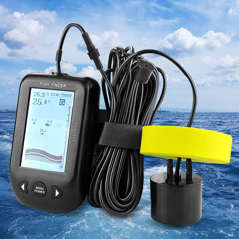 Erchang XF02 Portable Fish Finder Water Depth Temperature Fishfinder With Wired Sonar Sensor Transducer Fish Finders For Fishing