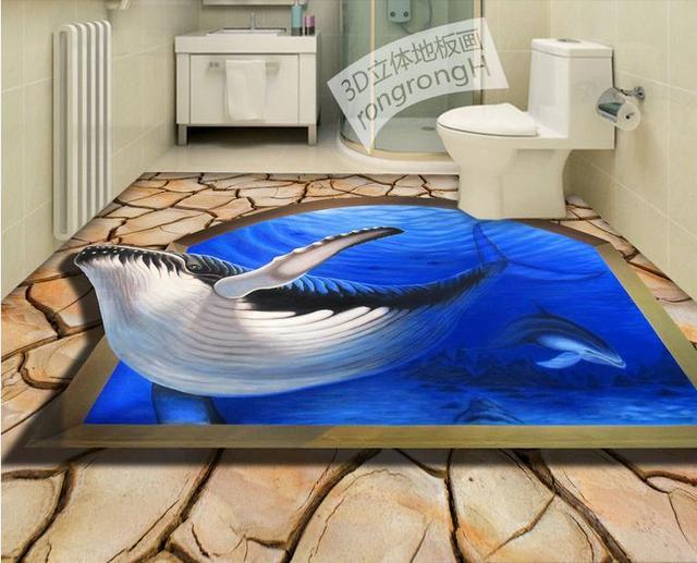 Custom 3d Waterproof Soundproof Floor Dolphins Sharks Modern Wallpaper Pvc  Vinyl Flooring Bedroom Wallpaper 3d Floor