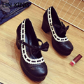 LIN KING New Arrival Women Pumps Round Toe Lace Bowtie Buckle Sweet Shoes Thick Square Heel Party Cute Platform Lolita Shoes