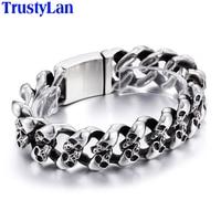 TrustyLan Punk Rock Skull Mens Bracelet Bangles 2017 Vintage Never Fade 316L Stainless Steel Chain Link