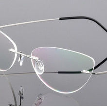 Cat eye women Titanium Alloy Rimless myopia glasses Nearsigh