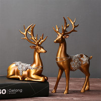 Household Decor Bronze Lovers Deer Classic Figurines Metal Decoration Craft Gift Home Decoration Metal Bronze Figurine Statue