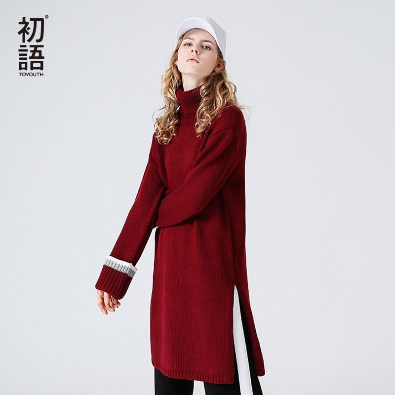 Toyouth Winter Warm Sweater Dresses For Women Fashion Turtleneck Long Sleeve Midi Dress All Match Split