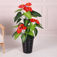 100cm artificial red palm interior pendulum without pot Decorative bonsai greenery plant tree plastic faux plants