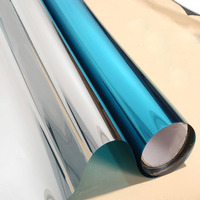 1.52x20m Blue&Silver One Way Mirror Reflective Solar Tint Anti UV Self Adhesive Film Decorative Heat Control Privacy Glass Tint
