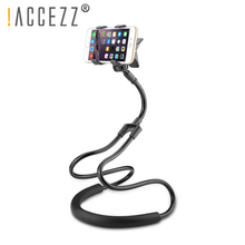 !ACCEZZ Lazy Bracket Universal 360 Degree Rotation Flexible Phone Desk Mount For Samsung Xiaomi iPhone iPad Tablet Holder Stand m07 360 degree rotation bracket w c61 back clamp for samsung i9200 ipad mini black