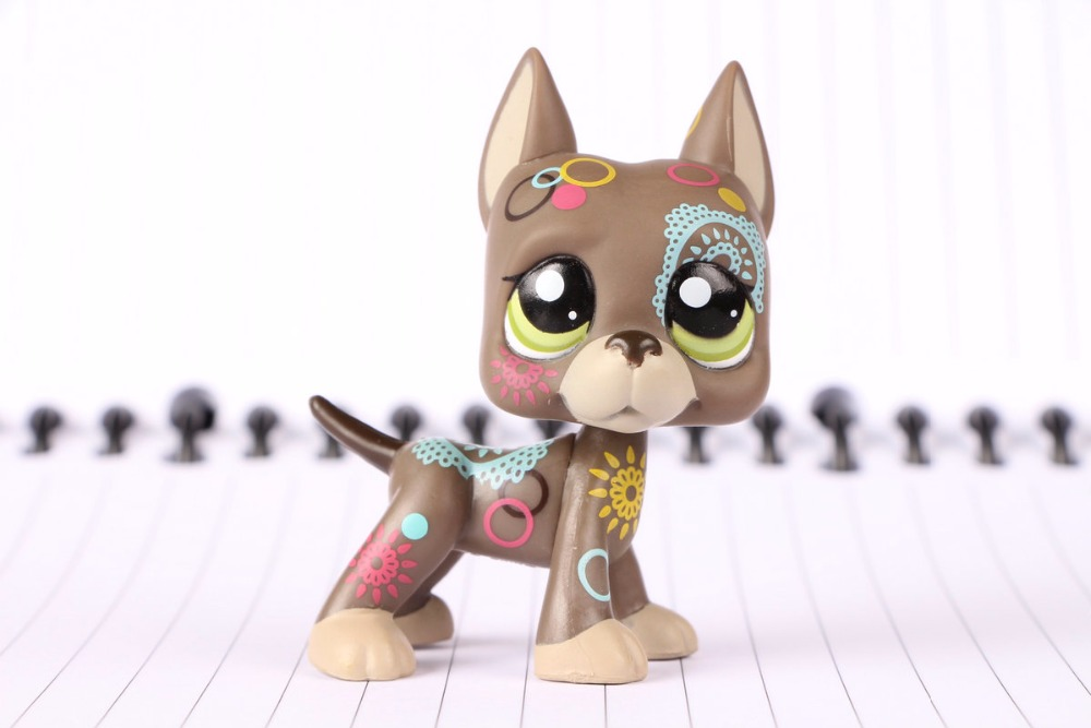 New Pet Collection Figure LPS #1439 Great Dane Dog Puppy Colors Flower Tattoo Kids Toys pet great dane pet toys rare old styles dog lovely animal pets toys lot free shipping