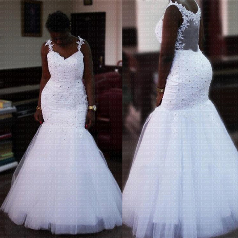 2019 New Backless African Style Mermaid Wedding Dress