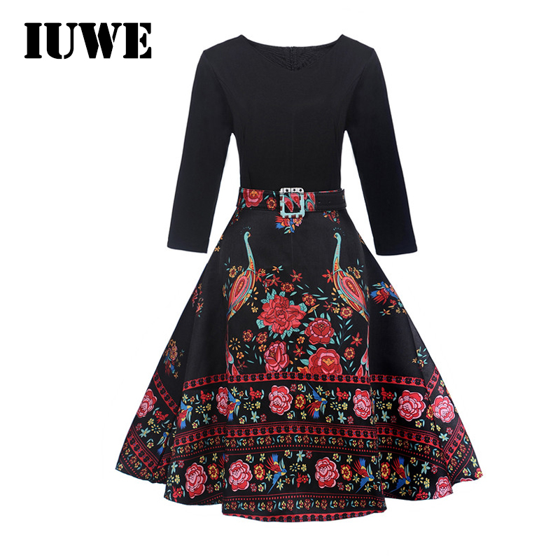 2017 Party Dresses for Teenager Girl Winter Long Children Dress Fancy Red Floral Print Black Belted Kid 12 14 Year Girl Clothing