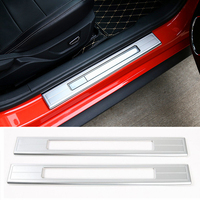 Silver Red Blue Aluminium Alloy Door Sill Protector Scuff Plate Entry Guard For Ford Mustang 2015