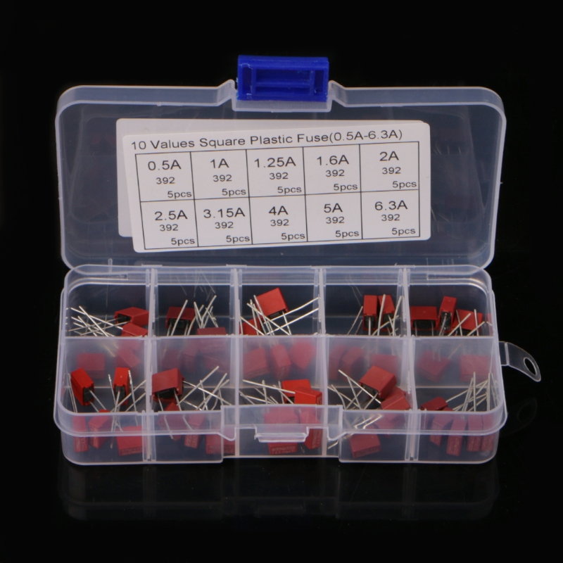 50Pcs Square Plastic Fuse Kit 10 Values 0.5-6.3A For Power Board TV LCD High Quality