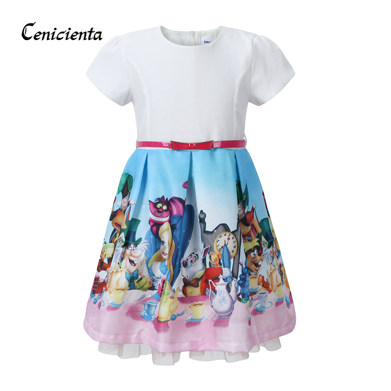 Cenicienta Baby Girl Clothes Snow White Print Cartoon Mona Princess Dress Red Bow Belt Cotton Girl Children Clothing for Party 4th july girl plain white pettitop red white blue bow petal pettiskirt nb 8year mamh209