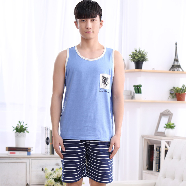 1078 Large Size Men's sleeveless top + short pants cat pattern Sleepwear