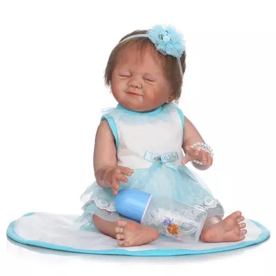 22 Full silicone reborn baby doll 50cm lifelike sleeping reborn girl babies collection girl brithday gifts brinquedos bathe toy christmas gifts in europe and america early education full body silicone doll reborn babies brinquedo lifelike rb16 11h10