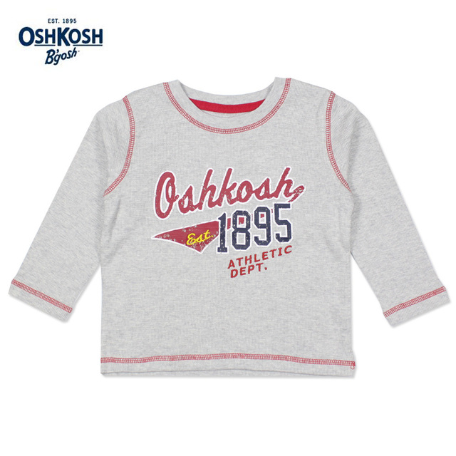 OshKosh Basketball Style T-shirts for Boys Autumn Outdoor Sports Clothes Long Sleeves Classic Tee Kids Tops Grey Cotton T-shirts