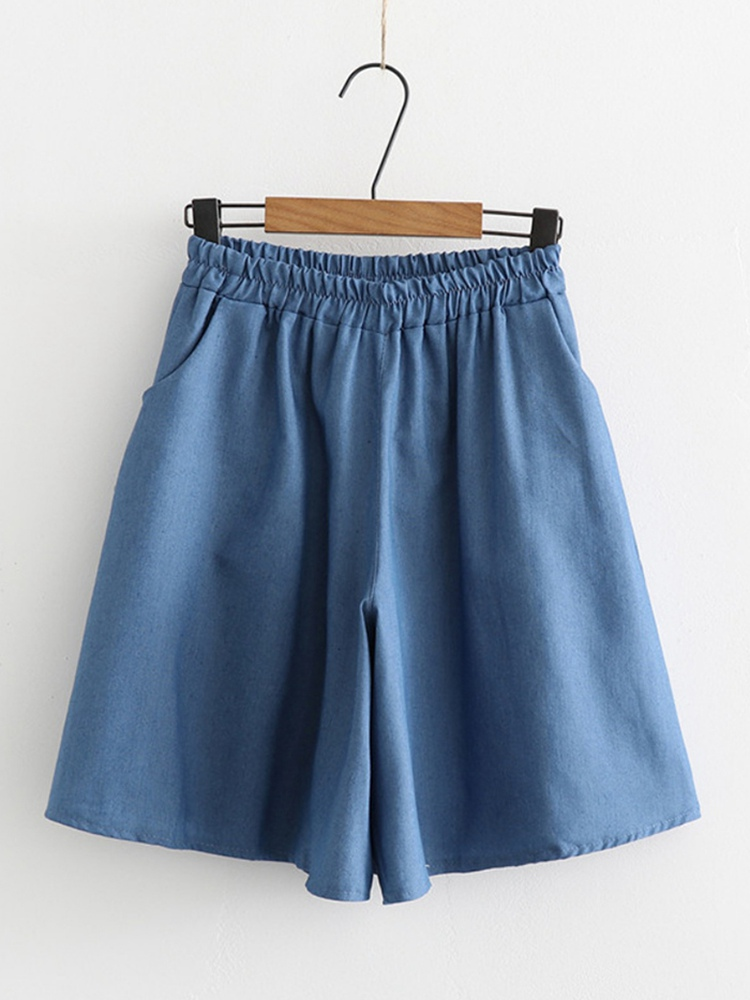 Summer Women Wide Leg   Shorts   High Waist Loose Blue Denim   Shorts   Skirts Plus Size 6XL Female Large Size   Short   Jeans   Short   Mujer