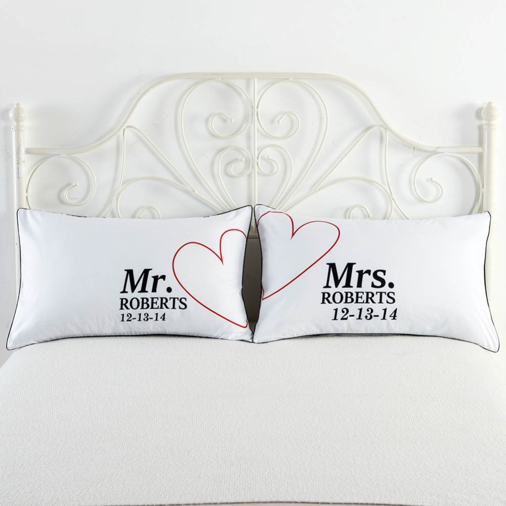 2pcs/lot Mr and Mrs Pillow Case 48*74cm Couple Pillowcase Personalized Pillow Cover Home Decorative For Wedding Anniversary Gift