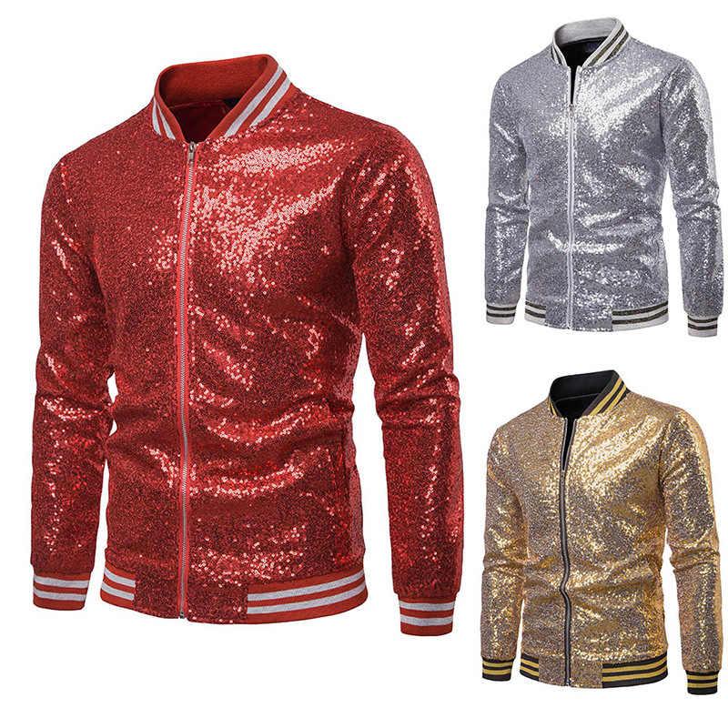 88da98a34 Punk Mens Shiny Jackets Gold Silver Loose Hooded Jackets Spring ...