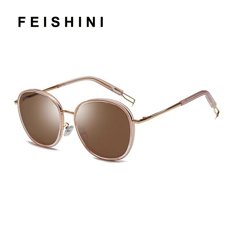 a39c7fdda6 FEISHINI UVA Gradient Oversized Oval Sunglasses Women Plastic Transparent  Fashion Mirror Unisex Korea Sun glasses Men