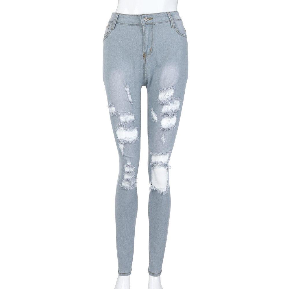 Women Slim Jeans Pants Skinny Denim 2020 Ladies Ripped Capris Long Pencil Pant High Waist Zipper Trousers Hole Pantalones Casual