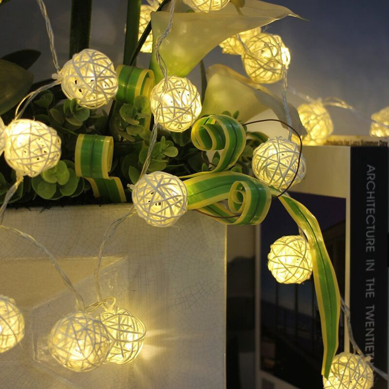 Led 2m 20leds Xmas Holiday Christmas Light 2M Fairy Rattan Ball String Lamp White Warm Colorful Decoration for Xmas New Year Wedding festival Party (29)
