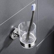 SUS 304 нержавеющая сталь зубная щетка держатель чашки для зубной щетки со стеклянной чашкой настенный держатель для ванной с одной чашкой аксессуары для ванной комнаты