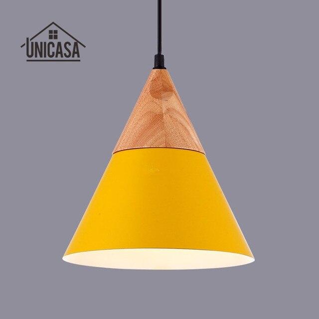 Legno moderno Lampade A Sospensione Industriale Giallo Alluminio ...