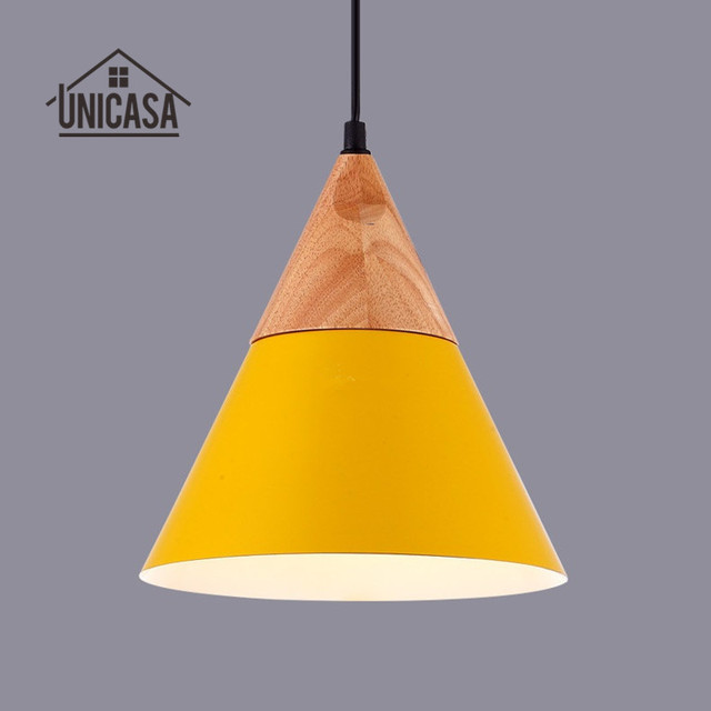 Modern Wood Pendant Lights Yellow Aluminum Mini Led Lighting Kitchen Island Office Hotel Antique Ceiling Lamp