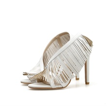 Womens Sandals Fashion Fringe 12CM Fine High Heel Open Toe Summer Black White Shoes