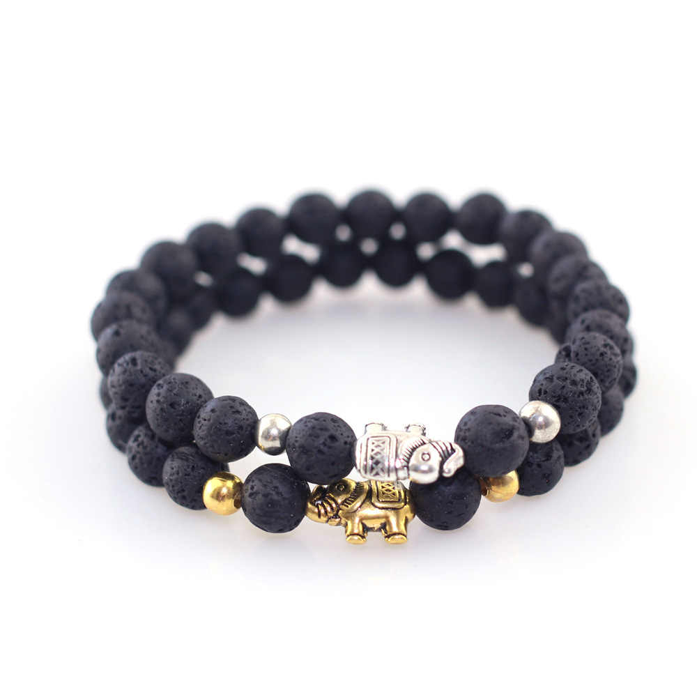 Trendy Black  Stone Beads with Gold Silver Color Alloy Elephant Bracelet For Women Men Couple Bangles Jewelry