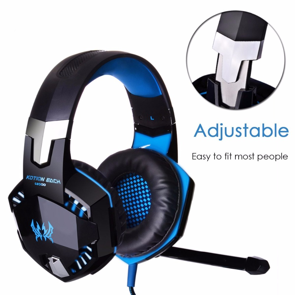 Kotion Each G2000 Stereo Gaming Headphone Headset Deep Bass Wired Luminous Earphone with Microphone LED Light For PC Gamer MP3