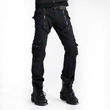Punk Gothic Men's Winter Trousers Black Rock Military Double Zipper Pants Fitted Brand Clothing With Pockets Pantalon Homme