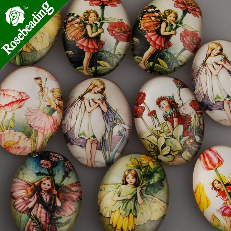 30x40mm Oval Pattern Glass Cabochon,mixed Little Girl Pictures,flat Back,thickness 8mm,sold 10pcs/lot-C4550