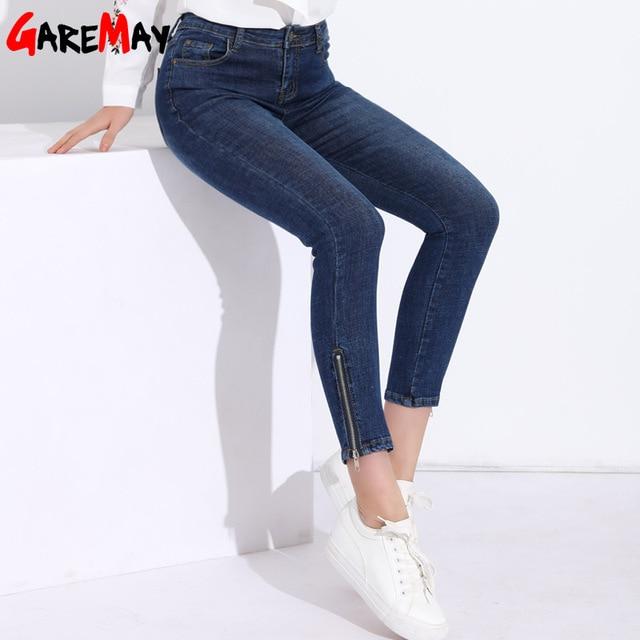 d2fd9105c9bd4 GAREMAY Skinny Women Jeans High Waist Feminina Slim Ankle Zipper Jeans Calf-Length  Jeans For