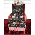 2017 Весна Взлетно-Посадочной Полосы Женщины Плиссированные Dress Высокое Качество Шелковый Лук Печати Дизайнер Женщин Цветочные Dress Party Gown Svoryxiu