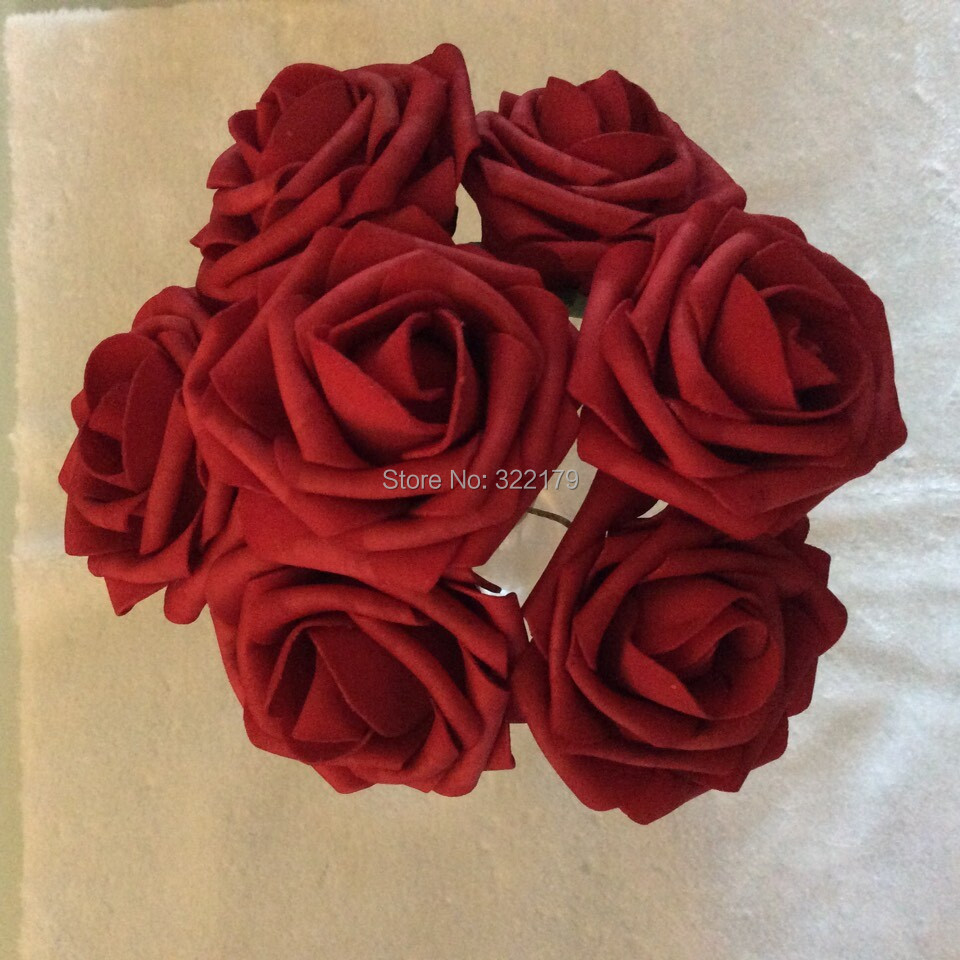 Online Shop Dark Red Artificial Wedding Flowers Bridal Bouquets 7cm