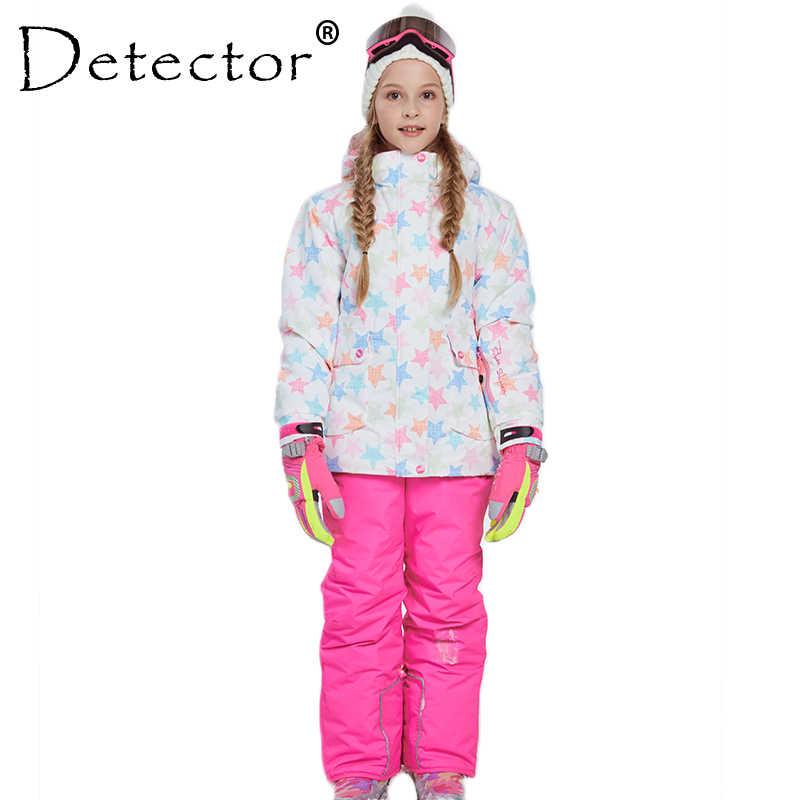 Зимняя Теплая Лыжная куртка и штаны для девочек, костюм для катания на лыжах, ветрозащитный съемный капюшон, комплект детской одежды для улицы, детские зимние комплекты