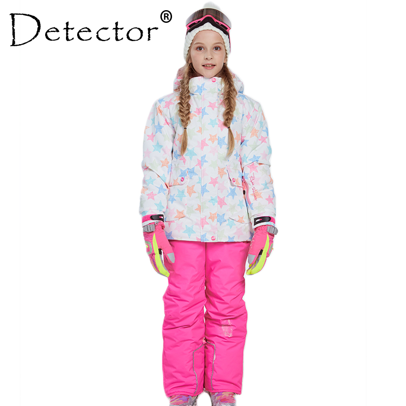 Detector Girl Ski Jacket and Pant Winter Warm Skiing Suit Windproof Removable Hood Outdoor Children Clothing