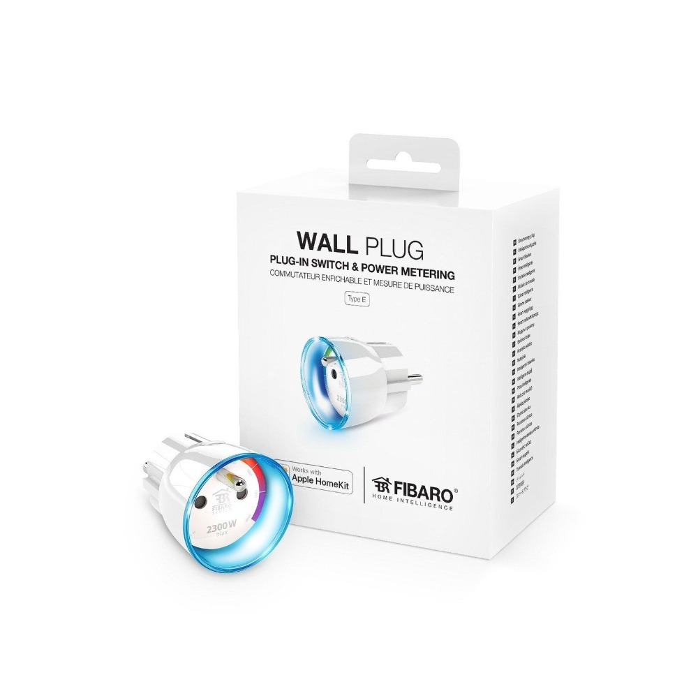 FIBARO WALL Power PLUG Socket Outlet Type F FGBWHWPF-102 2300W Pull-in Switch Power Metering Apple HomeKit Compatible
