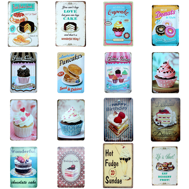 Vintage Cake Dessert Metal Tin Signs Retro Home Kitchen Decoration Plaque Poster Bar Pub Bakery Wall