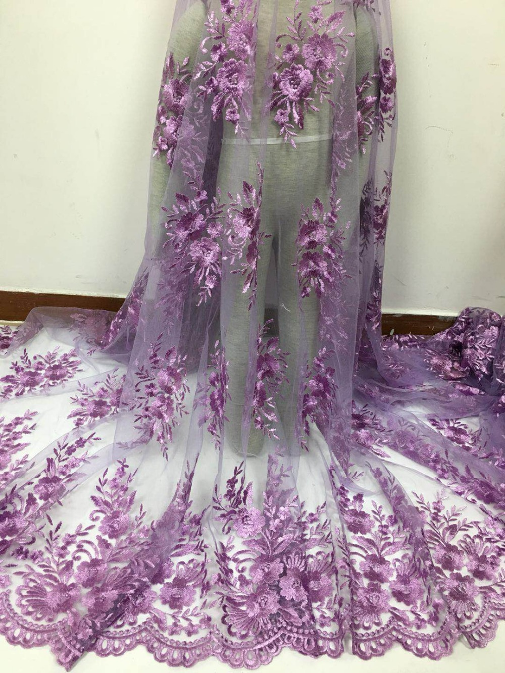 2018 High Quality Nigerian French Lace Embroidered Tulle Lace Fabric For Wedding DressRussia