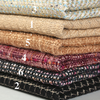 6Patterns! 145CM Wide 450G/M Weight Knitted Tweed Acrylic Polyester Golden Thread Fabric for Autumn and Spring Coat Jacket E855