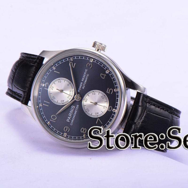 43mm parnis blue dial Luxury power reserve automatic movement mens watch цена