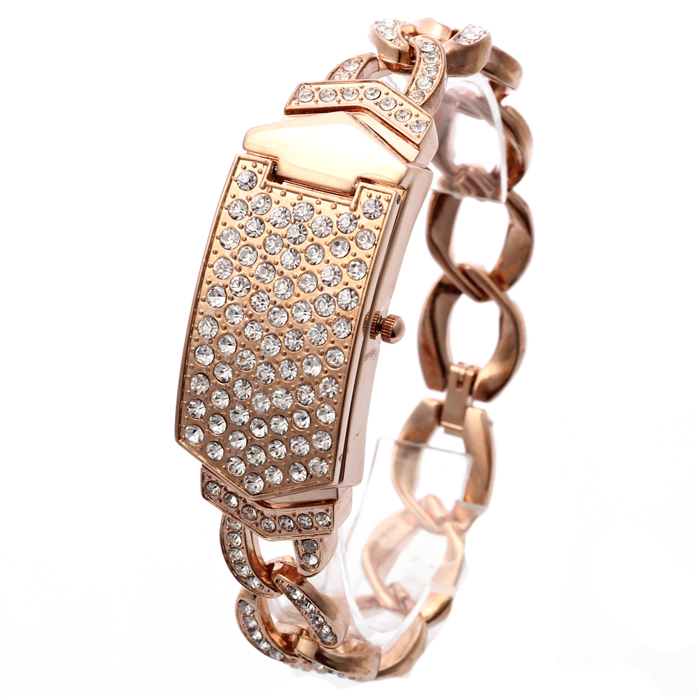 2018 New G & D dameshorloge Rose Gold Triple Chain roestvrijstalen band Clamshell Rhinestone Quartz analoge horloges voor dames