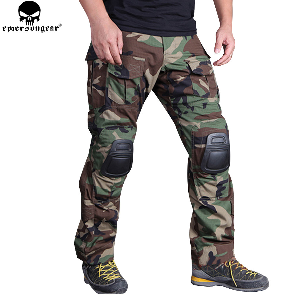 EMERSONGEAR Combat Pants with Knee Pads Protective Pants Airsoft Hunting Tactical Trousers EMERSON G3 Pants Wooland EM7044 emersongear g3 combat pants with knee pads military bdu army airsoft emerson gear paintball hunting trousers em7046 mandrake