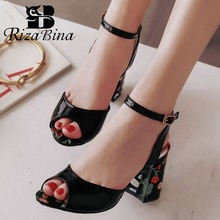 RizaBina Plus Size 31-46 Women Open Toe Sandals Ankel Strap Thick High Heels Shoes Fashion Print Office Club Women Footwear rizabina women high heel shoes buckle mixed color bowknot open toe heels sandals ladies daily party footwear size 30 46