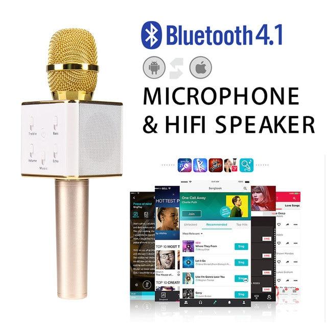 Q7 Pro Беспроводной Микрофон Караоке плеер Партии КТВ Пение Запись Q7 pro Bluetooth Микрофон Динамик зарядное устройство Для Android IOS