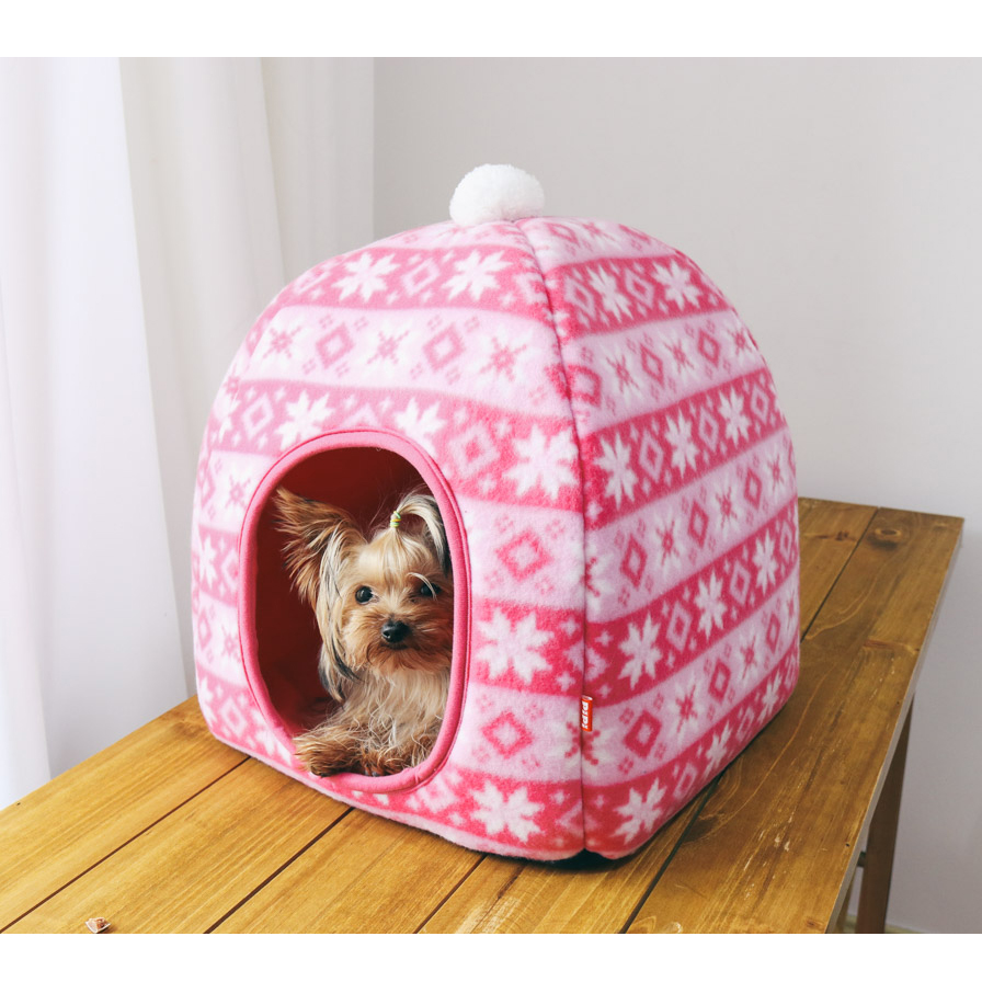 Christmas Pink Blue Kittens Snow Soft Winter Dog Beds Pet Mats Products for Dogs Round House Maltese Small Cat Puppy Sofa Kennel